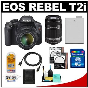 Canon EOS Rebel T2i Digital SLR Camera & 18-55mm IS Lens + EF-S 55-250mm IS Zoom Lens + 16GB Card + Battery + UV Filters + Accessory Kit