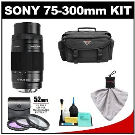 Sony Alpha 75-300mm f/4.5-5.6 Zoom Lens with Case + 3 UV/CPL/FLD Filter Set + Cleaning Kit for A33, A55, A560, A580, A230, A330, A380, A450, A500, A550, A850 & A900 Digital SLR Cameras