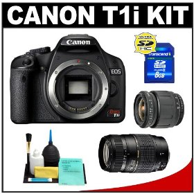 Canon EOS Rebel T1i Digital SLR Camera Body + Tamron 28-80mm Zoom Lens + Tamron 70-300mm Di LD Macro Zoom Lens + 8GB Card + Cleaning Kit