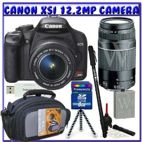 Canon EOS Rebel XSi (a.k.a. 450D) SLR Digital Camera Kit (Black) with 18-55mm IS Lens & Canon EF 75-300mm f/4-5.6 III Telephoto Zoom Lens + 8GB + Deluxe Accessory K#6