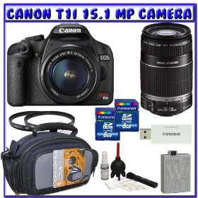 Canon EOS Rebel T1i 15.1 MP Digital SLR Camera (Black) + Canon EF-S 18-55mm f/3.5-5.6 IS Zoom Lens [Outfit] + Canon EF-S 55-250mm f/4.0-5.6 IS Zoom Lens + (2x) 8GB + Advanced Shooters Package K# 2