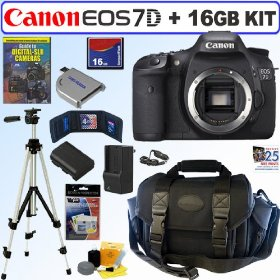 Canon EOS 7D 18 MP CMOS Digital SLR Camera with 3-inch LCD (Body) + 16GB Deluxe Accessory Kit