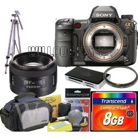 Sony Alpha DSLR-A900 Digital SLR Camera + Sony 50mm f/1.4 Lens for Sony Alpha Digital SLR Camera + Transcend 8GB Compact Flash 133x + Willoughby's Accessory Kit