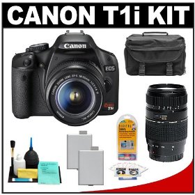Canon EOS Rebel T1i 15.1MP Digital SLR Camera (Black) with Canon EF-S 18-55mm IS + 55-250mm f/4.0-5.6 Zoom Lens + (2) LP-E5 Battery Packs + Case + Accessory Kit