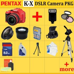 Pentax K-x Digital SLR Camera Kit (Red)
