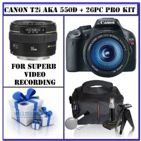 Canon EOS Rebel T2i (aka 550D) Digital SLR Camera w/ Canon EF-S 18-135mm f/3.5-5.6 IS Lens & Canon EF 50mm f/1.4 USM Autofocus Standard & Medium Telephoto Lens + 16GB Bonus Photographers Package # 1