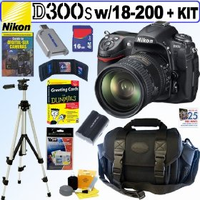 Nikon D300s 12MP CMOS Digital SLR Camera with Sigma AF 18-200mm f/3.5-6.3 DC OS (Optical Stabilizer) Zoom Lens + 16GB Deluxe Accessory Kit