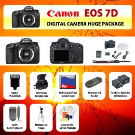 Canon EOS 7D Digital SLR Camera Body + 2 Extended Life Batteries + Battery Charger + 8 GB Memory Card + Card Reader + Tripod + Carrying Case + Starter Kit + Digital Flash and more!!
